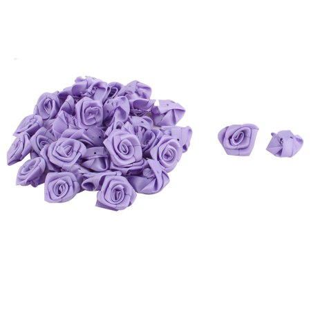 Satin Bows Rose Craft DIY Wedding Ornament Ribbon Flowers Light Purple 40pcs - Diy Ribbon Flowers
