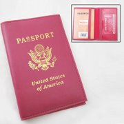 Marshal PINK LEATHER PASSPORT COVER HOLDER WALLET CASE TRAVEL NEW US EMBLEM GOLD GIFT !!