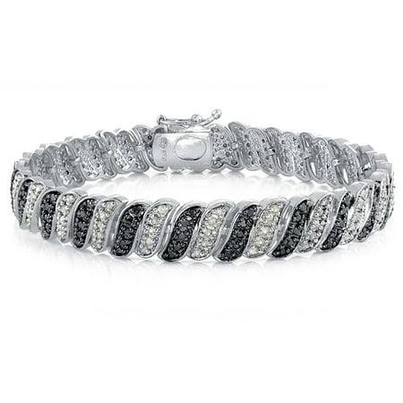 1.00 Carat T.W. Black and White Diamond Silver-Tone Wave Link Tennis Bracelet