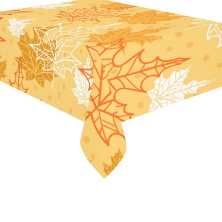 MYPOP Thanksgiving Maple Leaves Cotton Linen Tablecloth Set 60x84 Inches - Autumn Yellow Leaf Desk Table Cloth Cover for Wedding Holiday Party Decoration ()