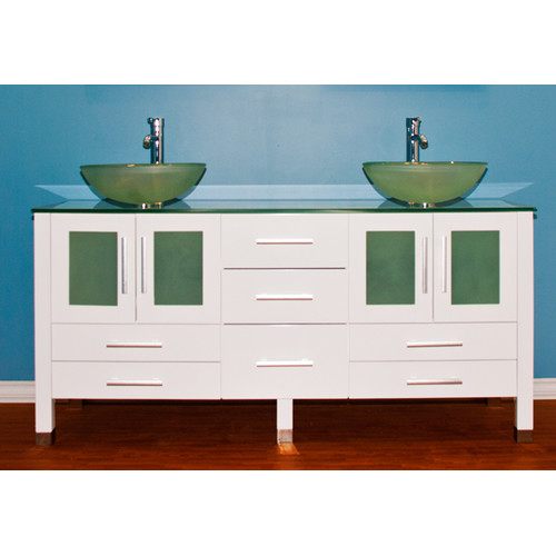 Cambridge Plumbing Emerald 71'' Double Bathroom Vanity Set with Mirror