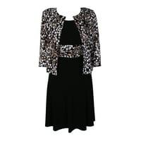 285fbb28a0d Product Image Jessica Howard Petite Black Ivory Leaf-Print Jacket And  Sleeveless A-Line Dress