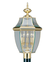 Outdoor Post 3 Light With Clear Beveled Glass Polished Brass size 12.5 in 180 Watts - World of Crystal