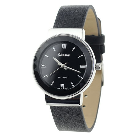 Stainless Japan (Geneva Japanese Movement Stainless Steel Back Casual Black Faux Leather Strap Watch)