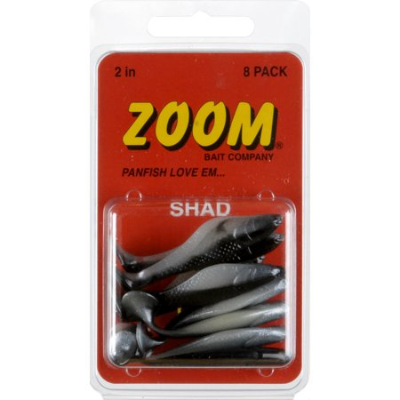 Zoom shad bodies fishing lures 8 pack 2 pearl black back for Zoom fishing lures