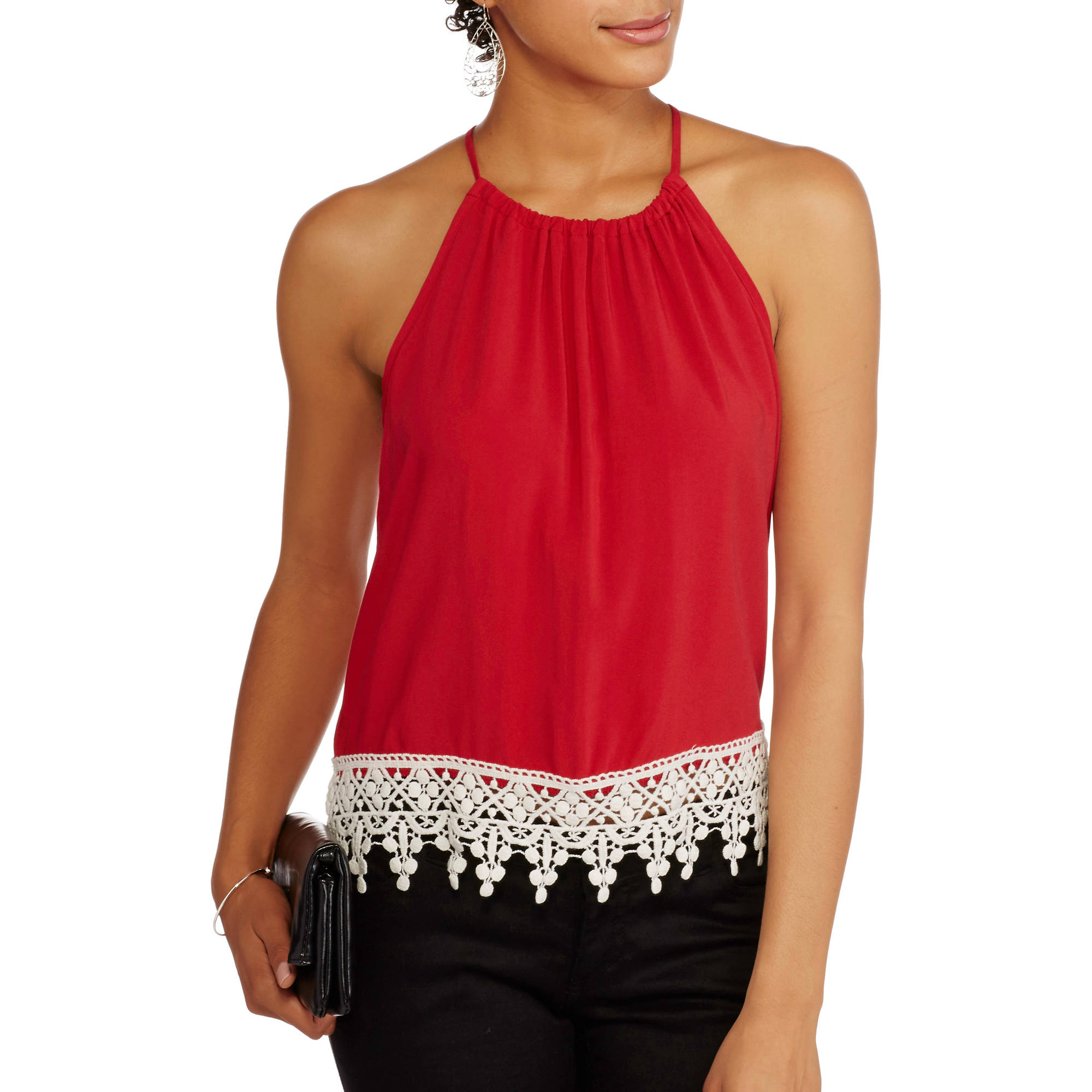 No Boundaries Juniors Woven Tank with Keyhole Back