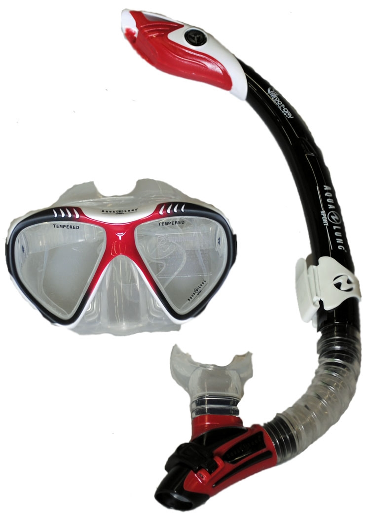 Aqua Lung Magellan Purge LX Mask with Case and Atlantis LX Snorkel White Red by Aqua Lung