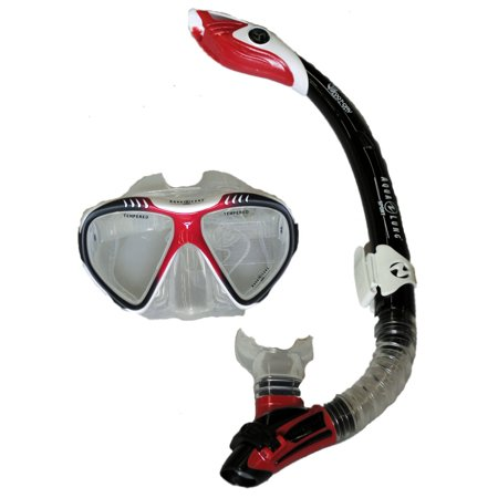 Aqua Lung Magellan Purge LX Mask with Case and Atlantis LX Snorkel - White/Red for $<!---->