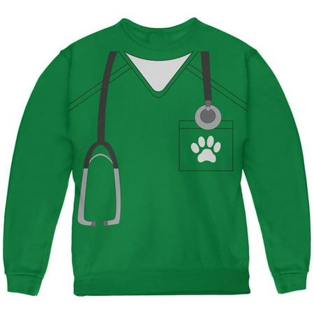 Halloween Vet Veterinarian Scrubs Costume Green Youth Sweatshirt (Halloween Punch With Green Jello)