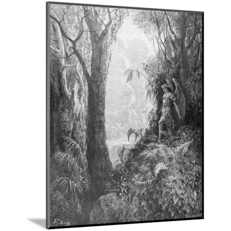Satan in Paradise, from Book IV of 'Paradise Lost' by John Milton (1608-74) Engraved by Charles… Wood Mounted Print Wall Art By Gustave