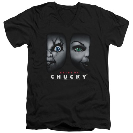 Bride Of Chucky Horror Comedy Movie Happy Couple Adult V-Neck T-Shirt Tee - Adult Couple Movies