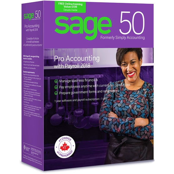 Sage 50 Pro Accounting 2018 with Payroll (Bilingual)