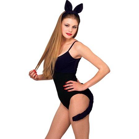 Adult Womens Kitty Black Cat Ears Headband Tail Kit Set Costume Accessory