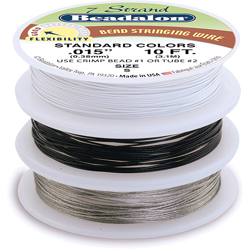 "Stringing Wire 7, Strand .015"" (.38mm) Diameter 10ft 3/pkg, Silver/Black/Clear"