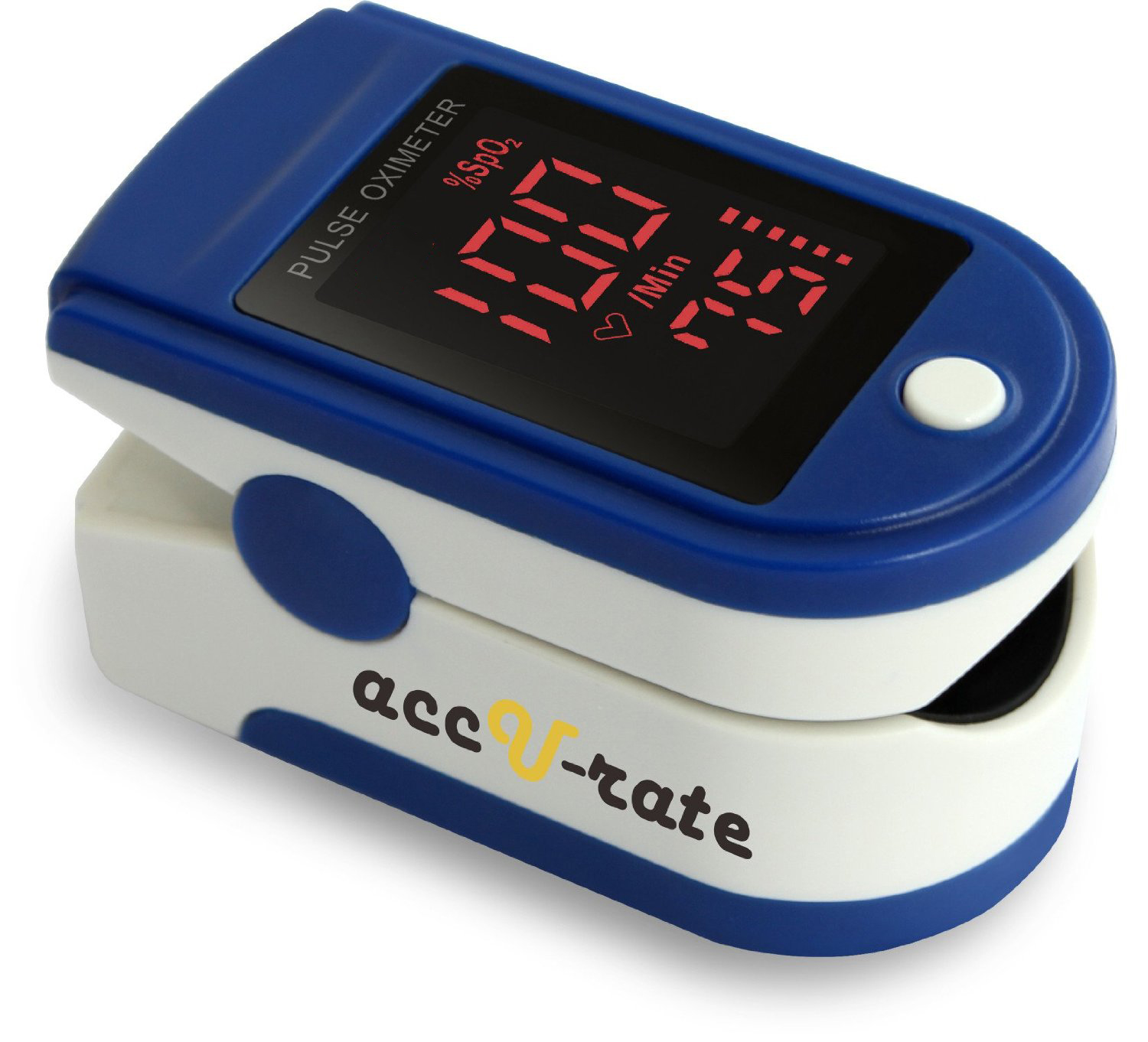 Image of Acc U Rate Pro Series 500DL Fingertip Pulse Oximeter Blood Oxygen Saturation Monitor with Silicon Cover, Batteries and Lanyard, Blue