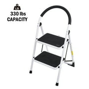 KARMAS PRODUCT Folding Step Ladder 2 Step Anti-slip Step Stool for Kitchen Heavy Duty Household Stepladders with Handgrip and Wide Pedal, 330lbs