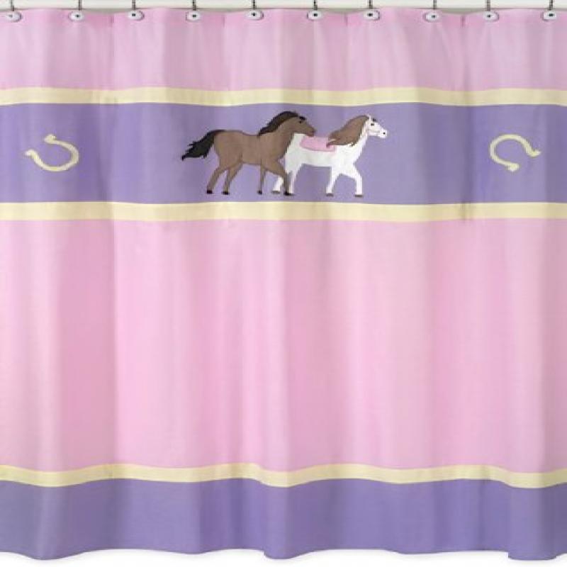 Pretty Pony Horse Kids Bathroom Fabric Bath Shower Curtain by Sweet Jojo Designs by