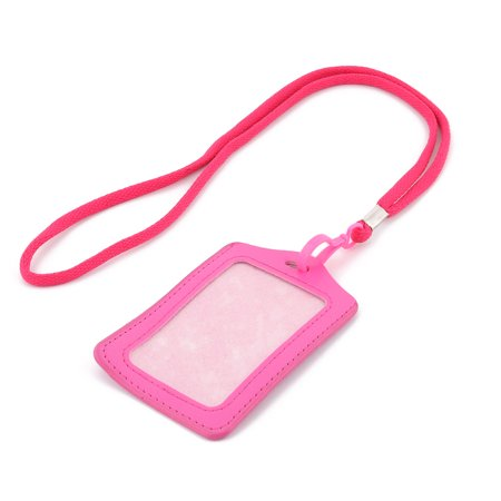 Company Faux Leather Vertical work ID Card Tag Badge Holder Fuschia w Neck Strap