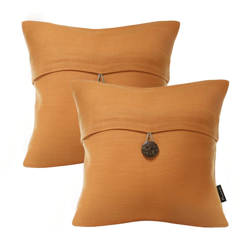 "Set of 2 Phantoscope Farmhouse Button Beige Color Linen Decorative Throw Pillow Case Cushion Cover 18 ""X18 ""(Pillow With Insert)"