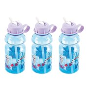 Disney Frozen 2 Elsa and Anna Kids 14 oz. Tritan Plastic Reusable Water Bottle with Flip-up Spout and Build-In Carry Loop BPA Free, 3-piece Set
