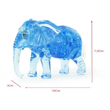 Mosunx 3D Crystal Puzzle Cute Elephant Model DIY Gadget Blocks Building Toy Gift BU