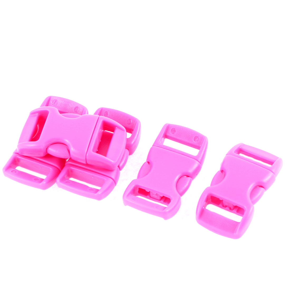 Luggage Backpack Plastic Side Quick Release Buckle 11mm Strap Fuchsia 5pcs