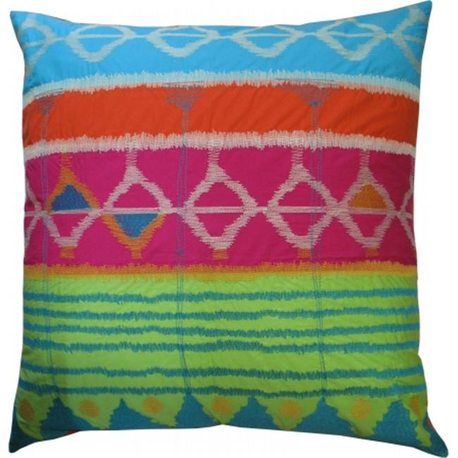 Koko Company 91716 Java Bright- Pillow- 26X26- Cotton- Ikat Inspired- Embroidery And Applique.