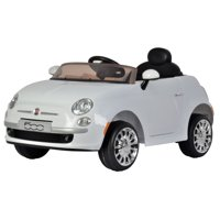 KidPlay Products Girls Ride On Car Fiat 500 White 12V Battery Kids Ride-able Car