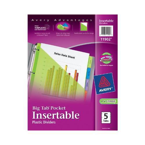 Avery Plastic Pocket Insertable Tab Divider - Print-on - 5 / Set - Multicolor Tab (AVE11902)
