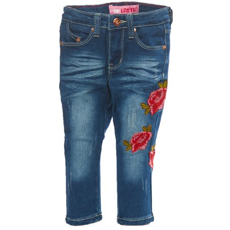Girls Kids Casual Rose Embroidery Patch Wash Denim Jeans - Girls 18 Months Denim