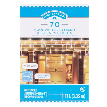 Holiday Time 70 Cool White Led Micro Icicle Style Lights