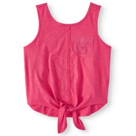 Girl Tile - Tie Front Pocket Tank Top (Little Girls, Big Girls & Big Girls Plus)