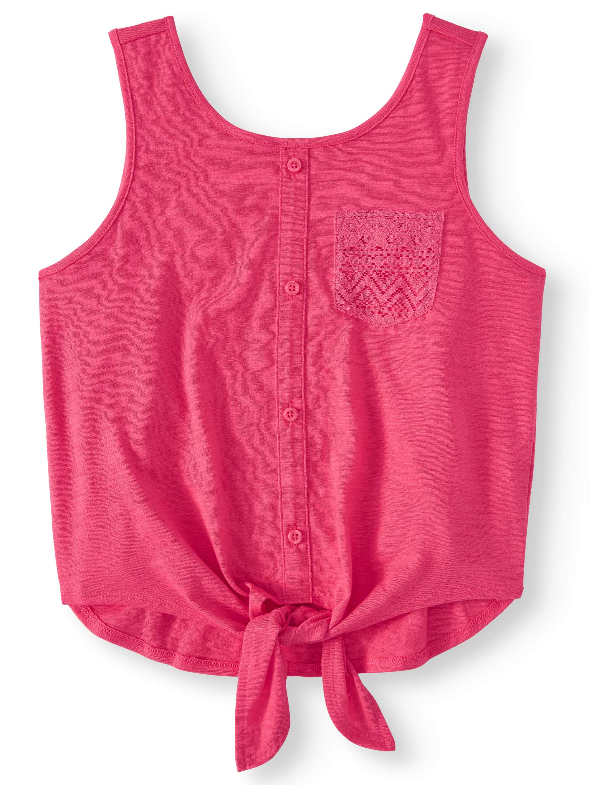 Tie Front Pocket Tank Top (Little Girls, Big Girls & Big Girls Plus)