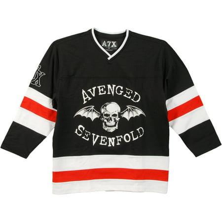 Avenged Sevenfold - Skull Bat Red Seven Adult Replica Hockey Jersey -  Walmart.com 95ba19d5133