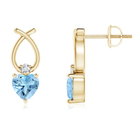 Heart Shaped Swiss Blue Topaz Ribbon Earrings in 14K Yellow Gold (4mm Swiss Blue Topaz) - SE0964SBTD-YG-A-4 14k Gold Ribbon Earrings