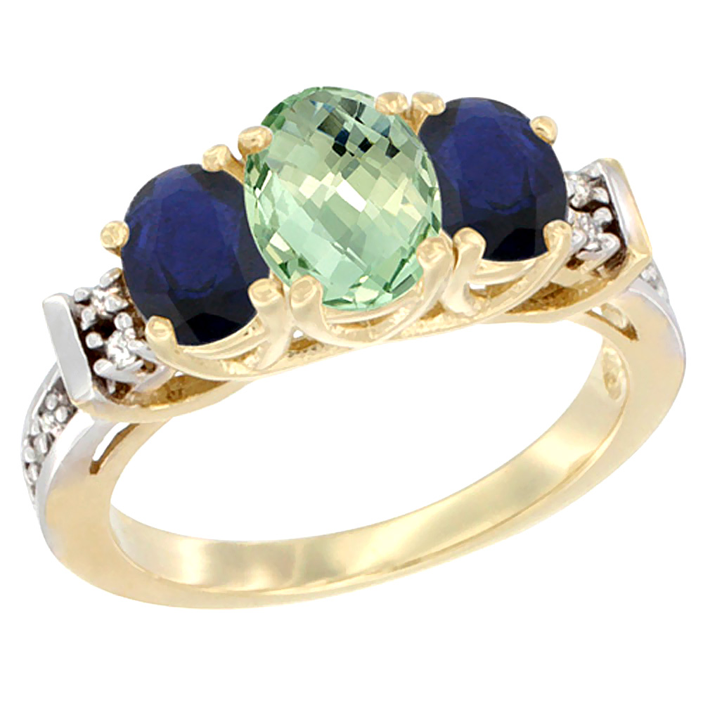 10K Yellow Gold Natural Green Amethyst & Blue Sapphire Ring 3-Stone Oval Diamond Accent by WorldJewels
