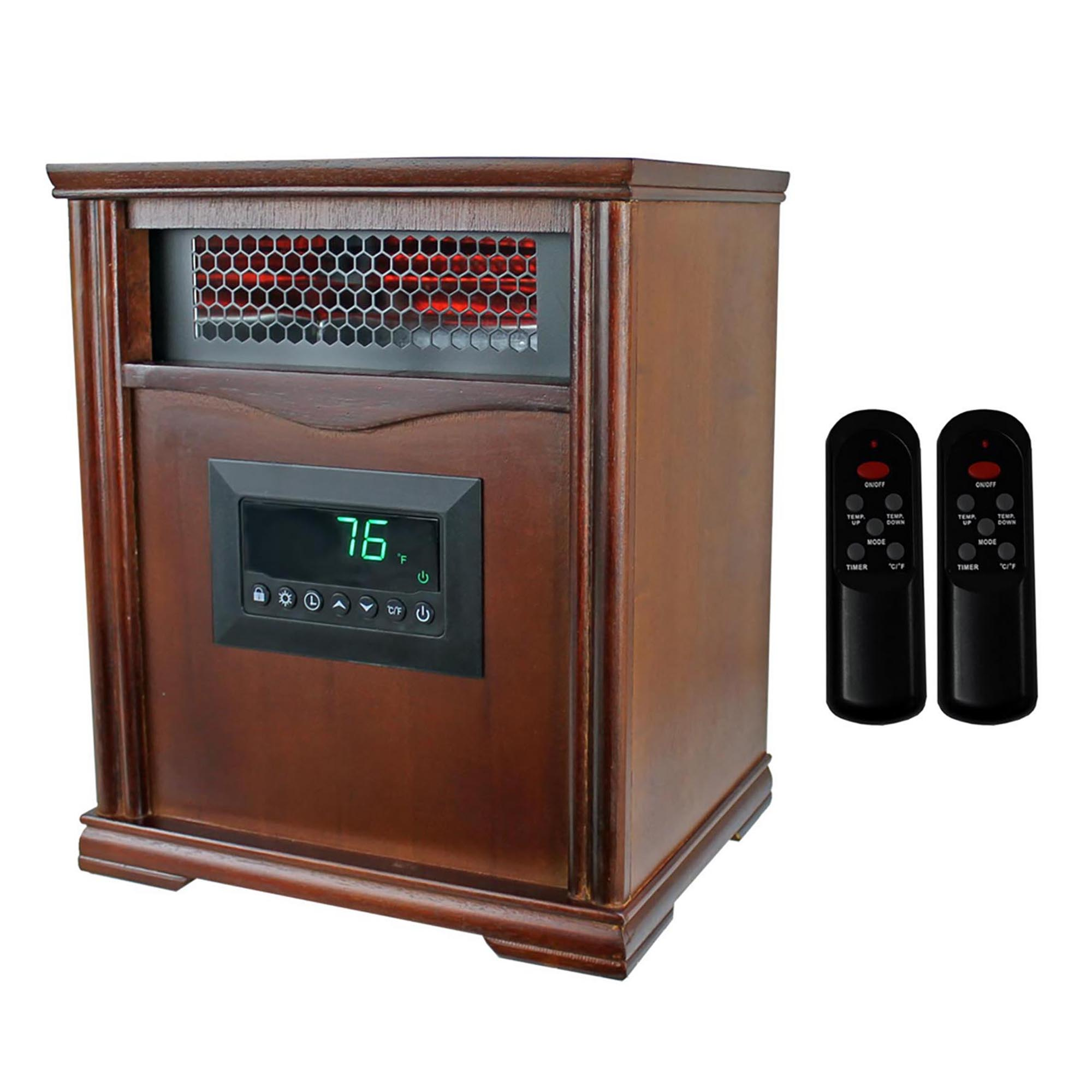 LifeSmart LifePro Dark Oak 1500 Watt Infrared Electric Portable Space Heater