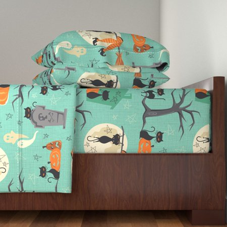 Halloween Bed Sheets (Mod Halloween Retro Mid Century Modern 100% Cotton Sateen Sheet Set by)