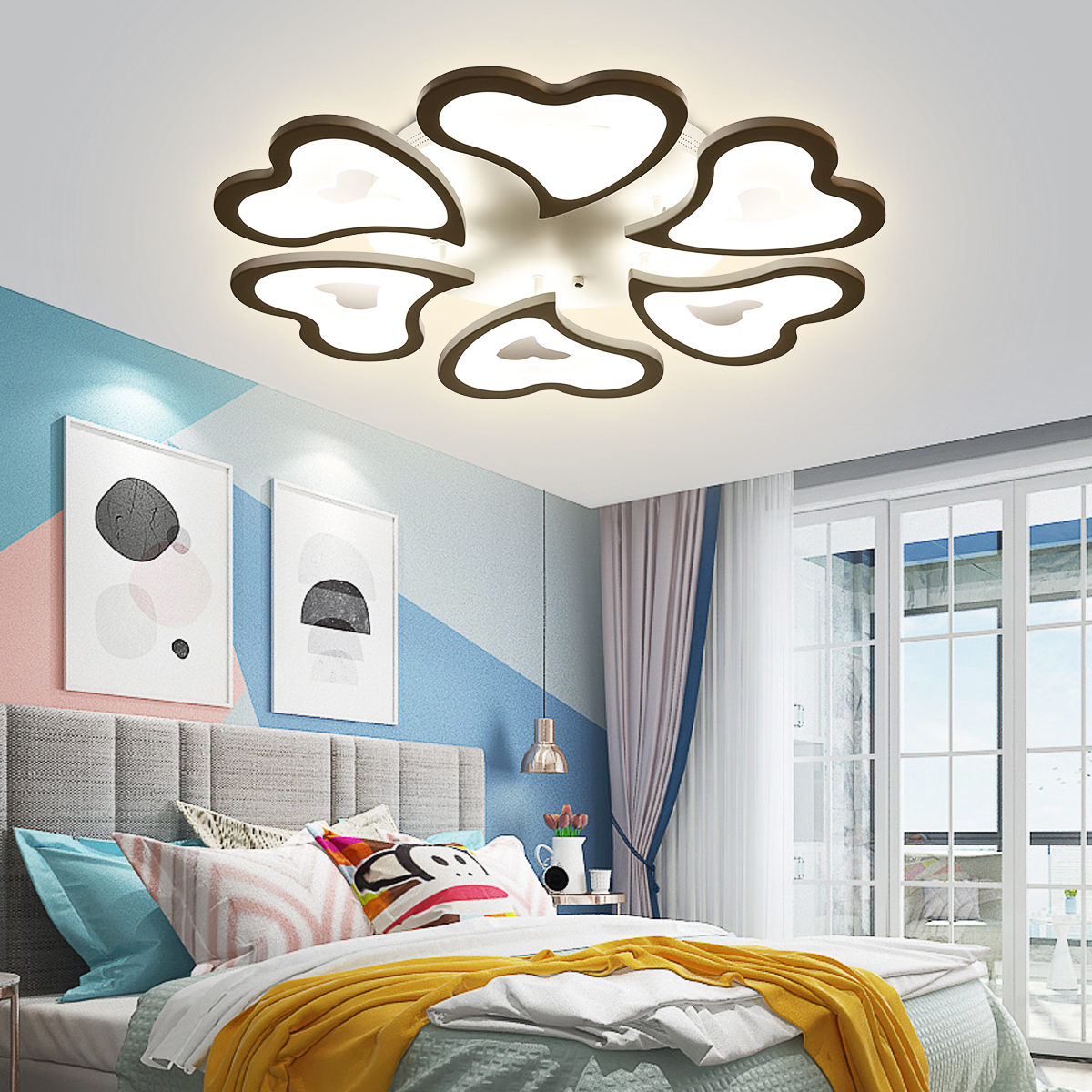 Dimmable Led Ceiling Light Modern Metal Acrylic With Remote Control Flush Mount Ceiling Lamp Living Room Flower Modeling Design Kitchen Hanging Lamp Bedroom Painted Finish Walmart Com Walmart Com