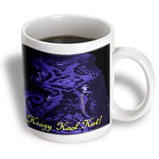 3dRose Krazy Kool Kat In Bright Blue With Text, Ceramic Mug, 11-ounce - Kool Kat