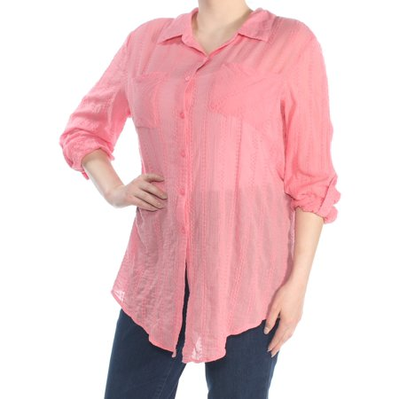 STYLE & COMPANY Womens Pink Tie Front Cuffed Collared Wear To Work Top  Size: