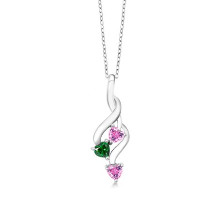925 Silver Pendant 4mm Set with Heart Shape Pink Zirconia from