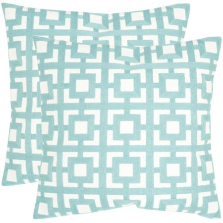 Safavieh Pil912a Square Turquoise Emily Pillow With Feather Filling From The Geo