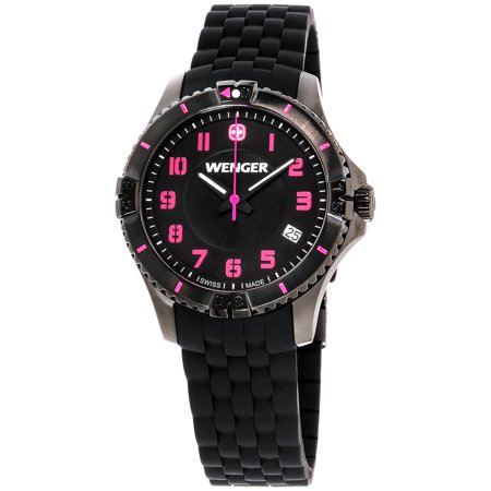 Wenger Squadron Lady Black Dial Silicone Strap Watch (Wenger Nylon Strap)