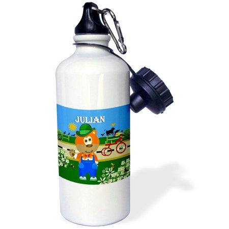 3dRose Decorative Bear Wearing Overalls with the name Julian , Sports Water Bottle, (Julian Bear)