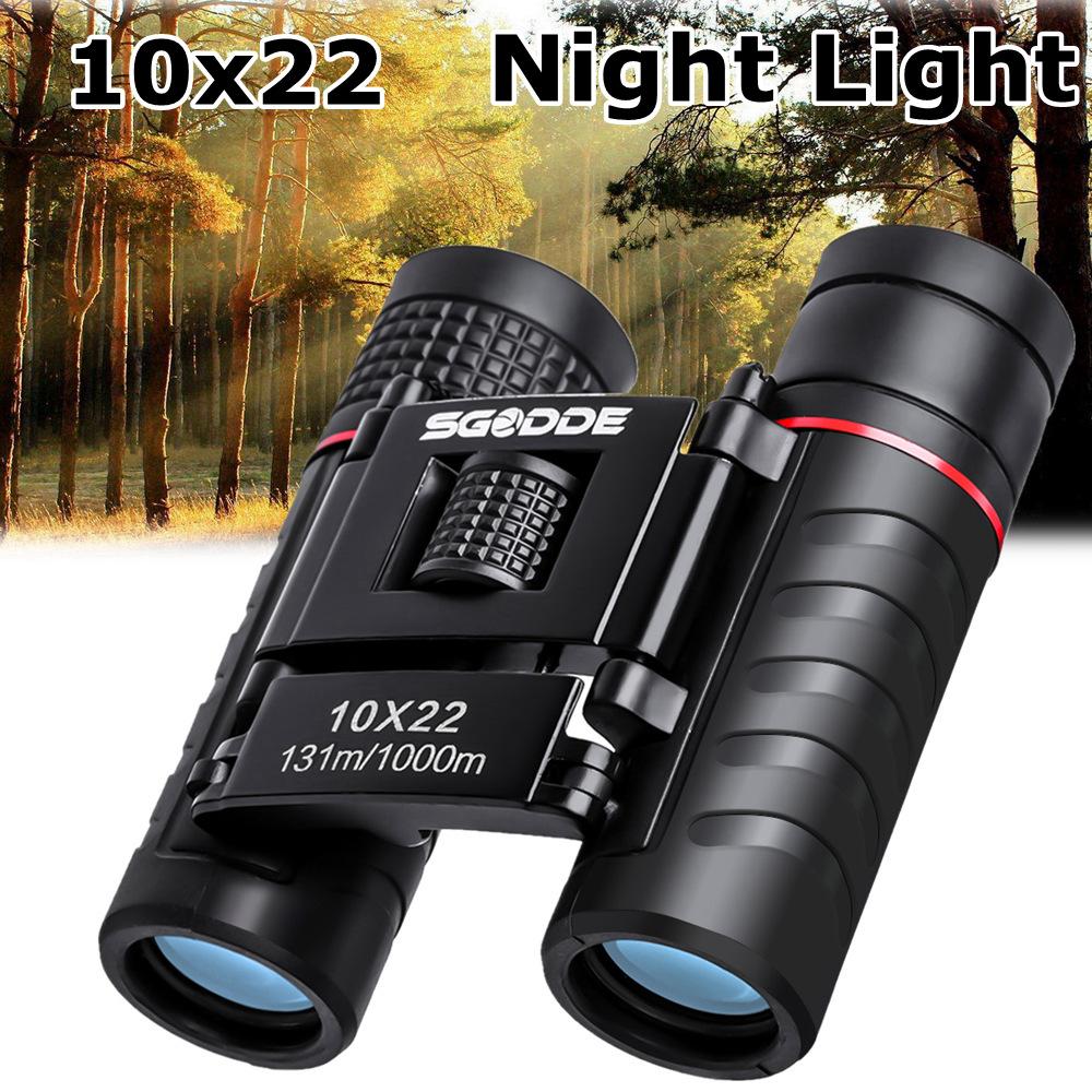 SGODDE 10x22 Binoculars Waterproof Folding High Powered Binoculars Mini Pocket Night Vision with Bag for Outdoor Bird Watching Travelling Concert