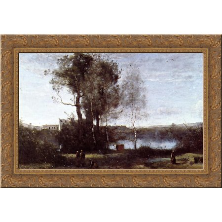 Large Sharecropping Farm 24x18 Gold Ornate Wood Framed Canvas Art by Camille Corot