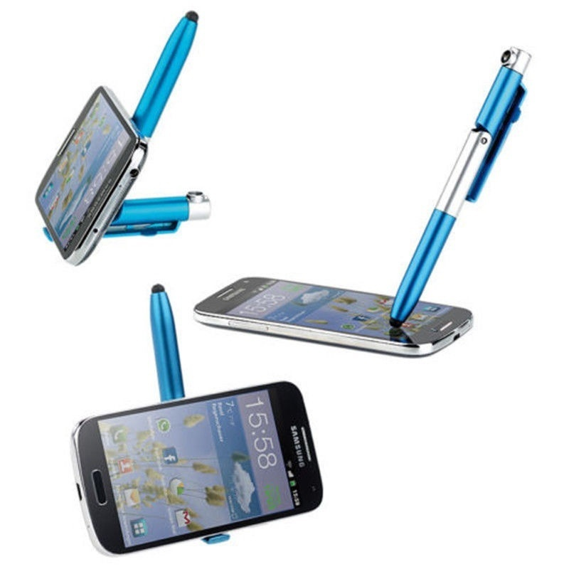 Flashlight Support For Tablet Phone Ballpoint Pen 2X 4-in-1 Foldable Stylus