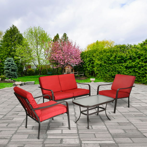 Mainstays Stanton 4-Piece Patio Furniture Conversation Set, Red, Metal