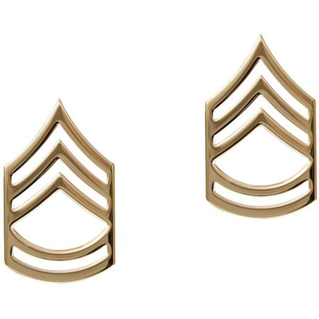 Polished - Military Sergeant First Class Pin-On Insignia Pair - Sergeant First Class Insignia